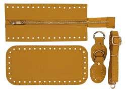 7. Κιτ τσάντας Elegant 9DOM - Μουσταρδί - Χρυσά μεταλλικά