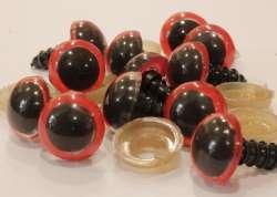 Ματάκια για Amigurumi 12-15 mm 12mm - Red (Ζευγάρι)