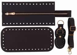 7. Κιτ τσάντας Elegant 16DOBR - Σκούρο καφέ - Χρυσά μεταλλικά